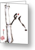 Sumi Greeting Cards - Bamboo Spirit Dance Greeting Card by Casey Shannon