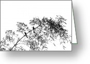Swaying Greeting Cards - Bamboo Tree with Two Birds Greeting Card by Yali Shi