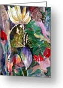 Banana Tree Greeting Cards - Banana and Pods Greeting Card by Mindy Newman