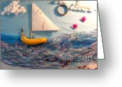 Found-object Greeting Cards - Banana Boat Greeting Card by Betsy Baldwin-Owens
