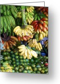 Food And Beverage Greeting Cards - Banana display. Greeting Card by Jane Rix