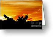 Yellow And Red Greeting Cards - Banana Palm Sunset Greeting Card by Kaye Menner