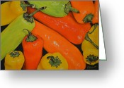 Vegetables Pastels Greeting Cards - Banana Peppers Greeting Card by Joanne Grant