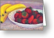 Giclee Pastels Greeting Cards - Bananas and Strawberries Greeting Card by Penny Neimiller