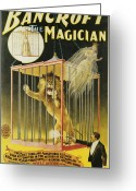 Magic Trick Greeting Cards - Bancroft the Magician Greeting Card by Unknown