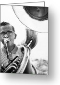 Tuba Greeting Cards - Band Member Greeting Card by Hans Namuth and Photo Researchers