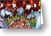 Patriotic Tapestries - Textiles Greeting Cards - Band of Horses Greeting Card by Carol Law Conklin