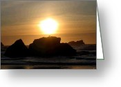 Surf Silhouette Digital Art Greeting Cards - Bandon Beach Silhouette Greeting Card by Will Borden