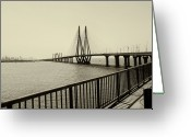 Street Light Greeting Cards - Bandra Worli Sea Link Greeting Card by For me, photographs are a great medium to tell a story. Whe