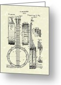 Patent Artwork Greeting Cards - Banjo 1882 Patent Art Greeting Card by Prior Art Design