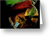 Street Musicians Greeting Cards - Banjo Art  Greeting Card by Steven  Digman