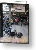 Orange Grey Greeting Cards - Banjo Busker At The Market Greeting Card by Tim Allen