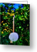 Banjo Greeting Cards - Banjo in the Weeds - Backwoods Music Greeting Card by Bill Cannon