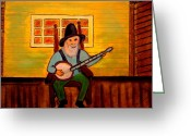 Overalls Greeting Cards - Banjo Man Greeting Card by Melvin Moon