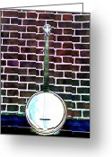 Banjo Greeting Cards - Banjo on a Red Brick Wall Greeting Card by Bill Cannon