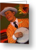 Banjo Greeting Cards - Banjo Player Greeting Card by Elizabeth Hoskinson