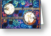 Musical Greeting Cards - Banjos - Bordered Greeting Card by Sue Duda