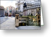 Old Street Greeting Cards - Bank station entrance in London Greeting Card by Elena Elisseeva