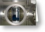 Entrance Door Greeting Cards - Bank Vault Interior Greeting Card by Adam Crowley
