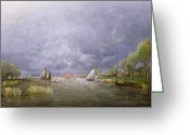 Swollen Greeting Cards - Banks of the Loire in Spring Greeting Card by Charles Leroux
