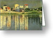 Argenteuil Greeting Cards - Banks of the Seine at Argenteuil Greeting Card by Gustave Caillebotte