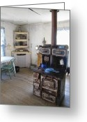Wood Floor Greeting Cards - BANNACK GHOST TOWN  KITCHEN and STOVE - MONTANA TERRITORY Greeting Card by Daniel Hagerman