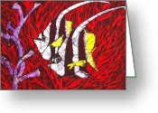 Fine Art Batik Tapestries - Textiles Greeting Cards - Bannerfish Greeting Card by Kay Shaffer