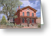 Town Painting Greeting Cards - Bannock-Montana-hotel Meade Greeting Card by Guido Borelli