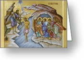 Byzantine Icon Greeting Cards - Baptism  Greeting Card by Julia Bridget Hayes
