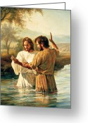 Baptize Greeting Cards - Baptism of Christ Greeting Card by Greg Olsen
