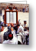 Mitzvah Greeting Cards - Bar Mitzvah at the Western Wall  Jerusalem Greeting Card by Thomas R Fletcher