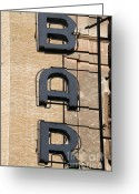 Advertisements Greeting Cards - Bar. Neon writing Greeting Card by Bernard Jaubert