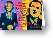 Democrat Painting Greeting Cards - Barack and Michelle Greeting Card by Tony B Conscious