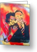 Conservative Greeting Cards - Barack Love Greeting Card by Tony B Conscious