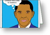 Barrack Obama Greeting Cards - Barack Obama - Change has come to America Greeting Card by Yvan Goudard