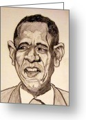 Barack Drawings Greeting Cards - Barack Obama - Lifestyles over Livelihood Greeting Card by Donald William