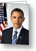 President Obama Greeting Cards - Barack Obama (1961- ) Greeting Card by Granger