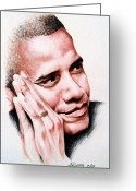 Barack Drawings Greeting Cards - Barack Obama Greeting Card by A Karron