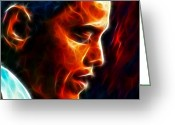 President Obama Digital Art Greeting Cards - Barack Obama Greeting Card by Pamela Johnson
