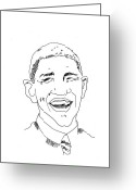 Barack Drawings Greeting Cards - Barack Obama Greeting Card by Penny Owens