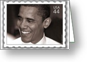 U.s.a. President Greeting Cards - Barack Obama Portrait. Photographer Ellis Christopher Greeting Card by Ellis Christopher
