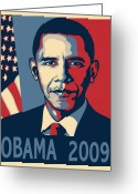 Portrait Poster Greeting Cards - Barack Obama Presidential Poster Greeting Card by Sue  Brehant