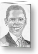 Barack Drawings Greeting Cards - Barack Obama Greeting Card by Tibi K