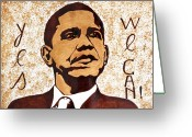 President Obama Greeting Cards - Barack Obama Words of Wisdom coffee painting Greeting Card by Georgeta  Blanaru