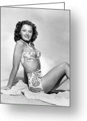 Beach Towel Photo Greeting Cards - Barbara Stanwyck Greeting Card by Granger