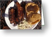 Cole Greeting Cards - Barbeque Ribs Dinner At Sonny Bryans Greeting Card by Richard Nowitz
