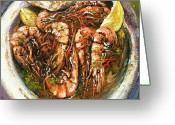 Bread Greeting Cards - Barbequed Shrimp Greeting Card by Dianne Parks