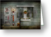 Stripes Greeting Cards - Barber - Belvidere NJ - A Family Salon Greeting Card by Mike Savad