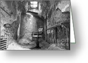 Criminals Greeting Cards - Barber - Chair - Eastern State Penitentiary - Black and White Greeting Card by Paul Ward