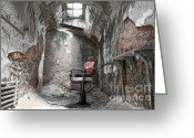 Criminals Greeting Cards - Barber - Chair - Eastern State Penitentiary Greeting Card by Paul Ward